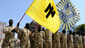 Azov battalion soldiers take an oath of allegiance to Ukraine in Kiev's Sophia Square before being sent to the Donbass region. (RIA Novosti : Alexandr Maksimenko)